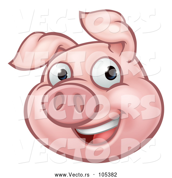 Vector of Happy Cartoon Pig Mascot