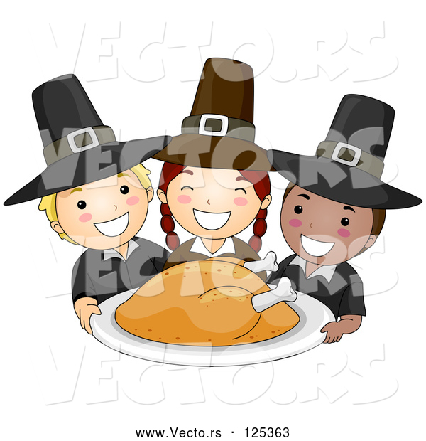 Vector of Happy Cartoon Pilgrim KChildren Serving a Thanksgiving Turkey