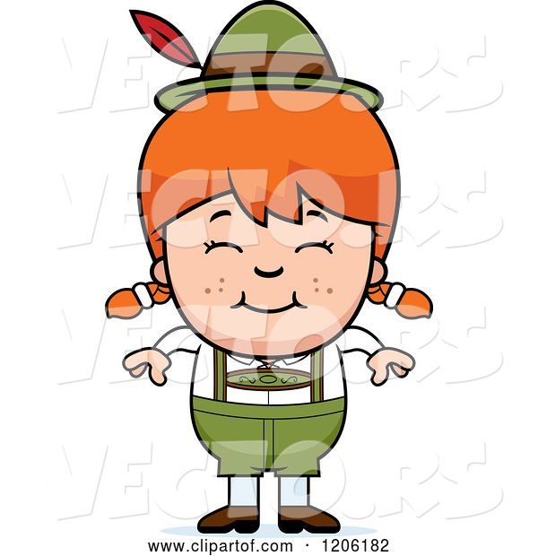 Vector of Happy Cartoon Red Haired Oktoberfest German Girl