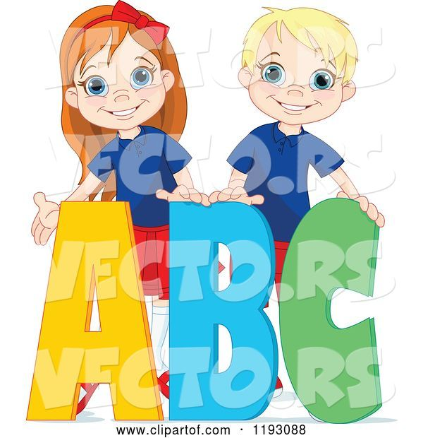 Vector of Happy Cartoon School Boy and Girl with ABC Alphabet Letters