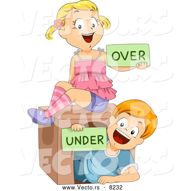 Over Under Clipart Vector of Happy Cartoo...