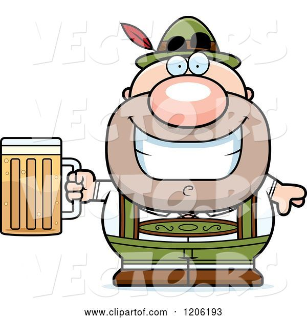 Vector of Happy Cartoon Short Oktoberfest German Guy Holding a Beer