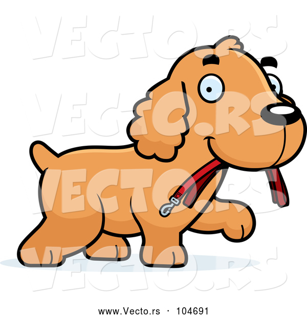 Vector of Happy Cartoon Spaniel Puppy Carrying a Leash