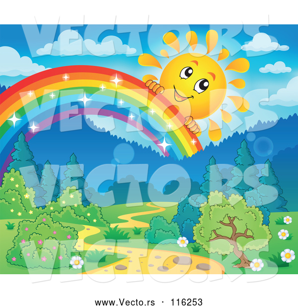 Vector of Happy Cartoon Sun Peeking over a Magical Rainbow over a Path and Forest