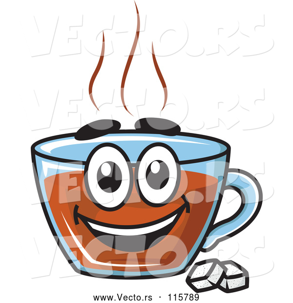 Vector of Happy Cartoon Tea Cup Character with Sugar Cubes