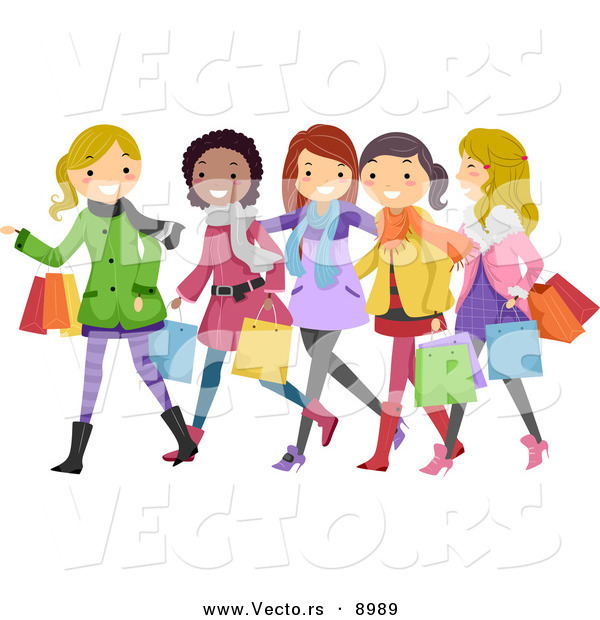 Vector of Happy Cartoon Teen Girls Christmas Shopping