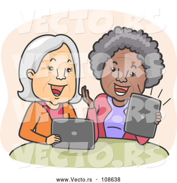 Vector of Happy Cartoon White and Black Senior Women Laughing and Video Streaming on Their Laptop and Tablet Computers