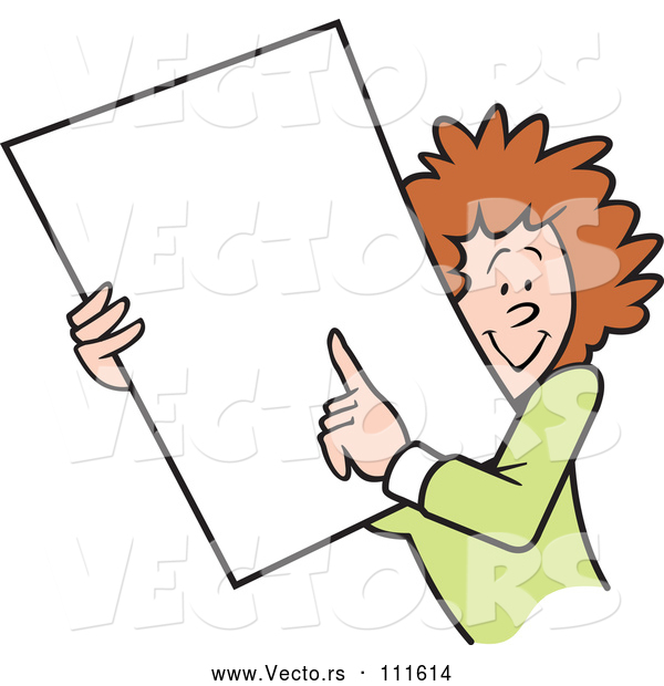 Vector of Happy Cartoon White Businesswoman Holding and Pointing to a Blank Sign or Document