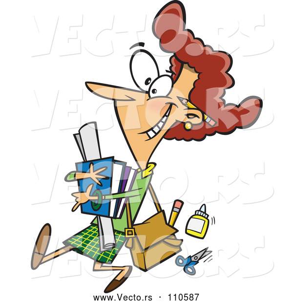 Vector of Happy Cartoon White Female Teacher Carrying Supplies and Walking