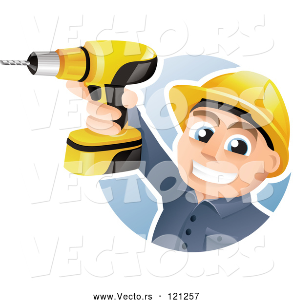 Vector of Happy CartoonConstruction Worker Holding up a Power Drill
