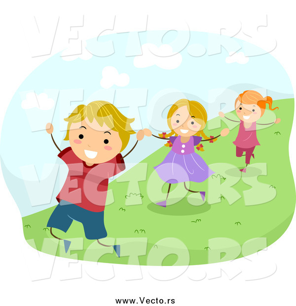 Vector of Happy Caucasian Energetic Children Running down a Hillside