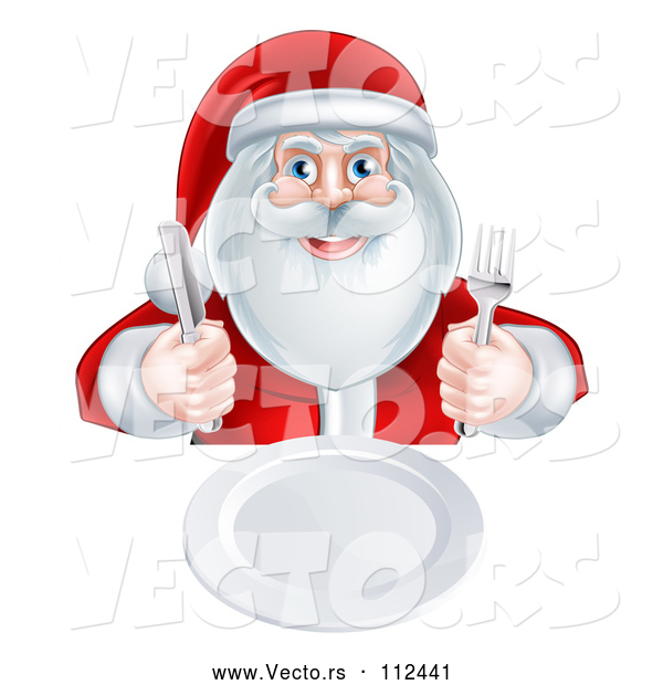 Vector of Happy Christmas Santa Claus Sitting with a Clean Plate and Holding Silverware
