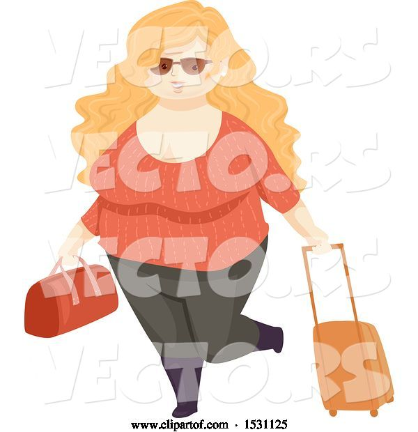 Vector of Happy Chubby Lady Traveler