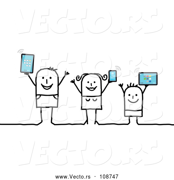 Vector of Happy Connected Stick Family Holding up Tablet Computers and a Smart Phone