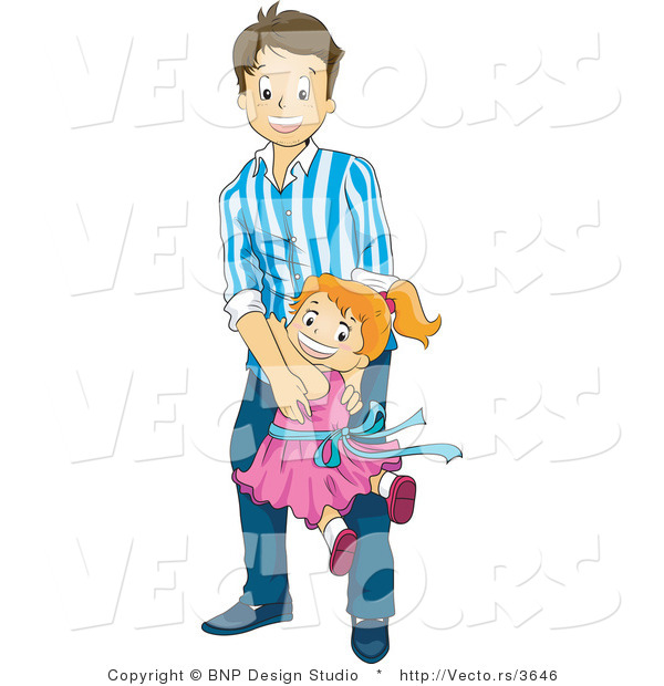 Vector of Happy Daughter Running and Jumping on Her Dad