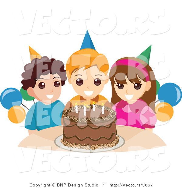 Vector of Happy Girl and Boys Standing Around a Chocolate Birthday Cake