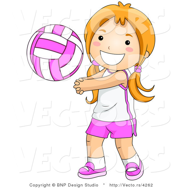 Vector of Happy Girl Playing Game of Volleyball