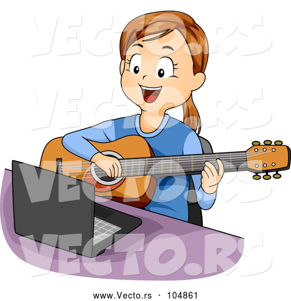 Vector of Happy Girl Playing Guitar Lessons from Online Computer Tutorial