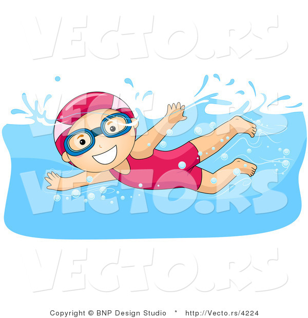 Vector of Happy Girl Swimming While Wearing a Hair Cap