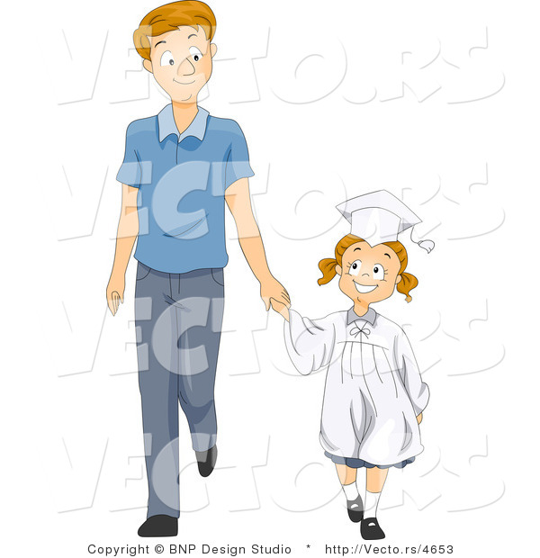 Vector of Happy Graduate Girl Holding Dad's Hand While Walking Forward - Cartoon Styled