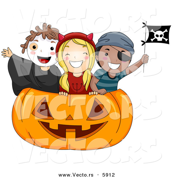 : Vector of Happy Halloween Cartoon Kids Inside a Giant Carved Pumpkin