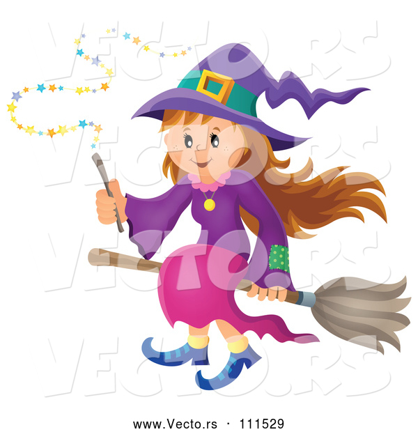 Vector of Happy Halloween Witch Girl Sitting on a Broom and Holding a Magic Wand