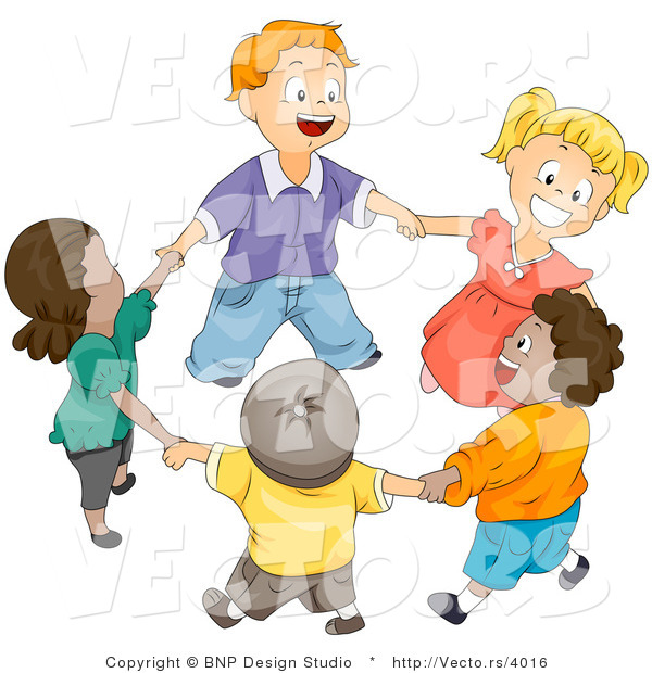 Vector of Happy Kids Holding Hands and Walking in a Circle - Diverse Cartoon Design