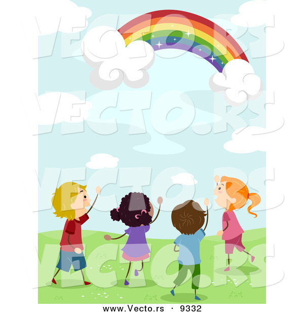 Vector of Happy Kids Looking at a Magical Rainbow in a Sky with Clouds