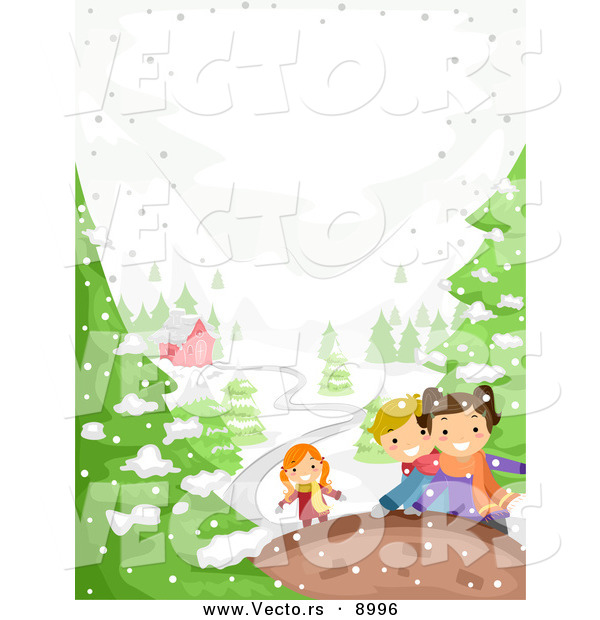Vector of Happy Kids Playing in Winter Snow near a House
