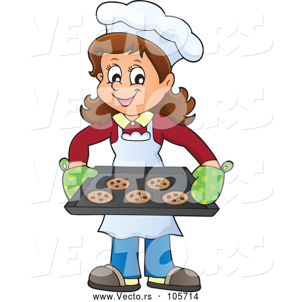 Vector of Happy Lady Baking Chocolate Chip Cookies