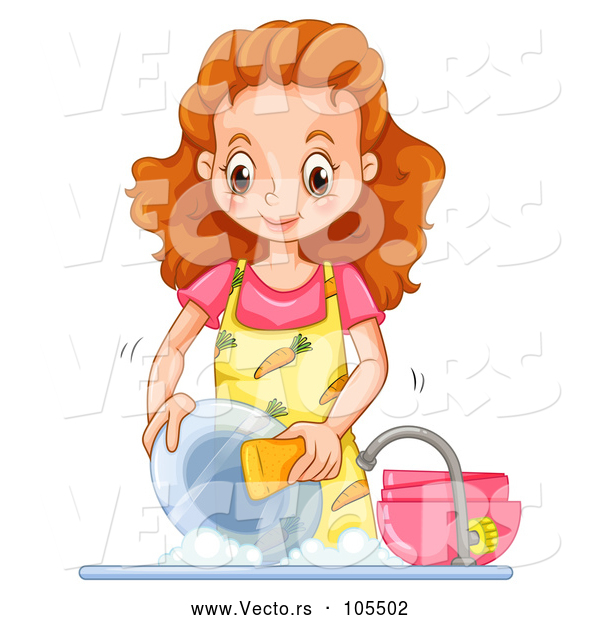 Vector of Happy Lady Washing Dishes