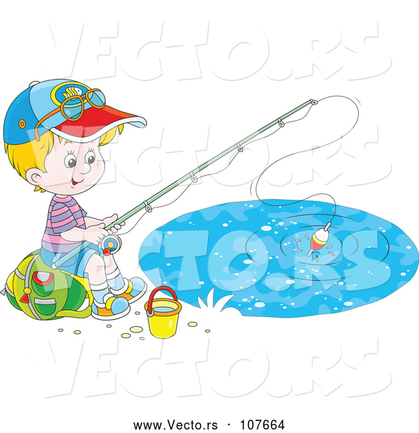 : Vector of Happy Little White Boy Sitting on a Bag and Fishing