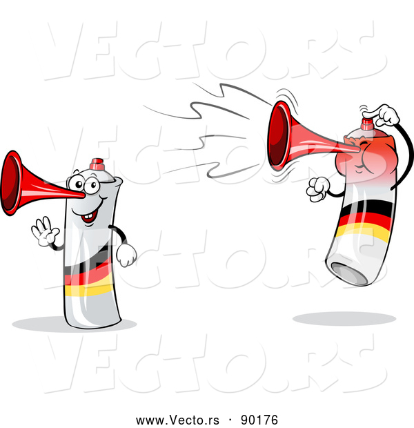 Vector of Happy Mad Cartoon German Air Horn Characters