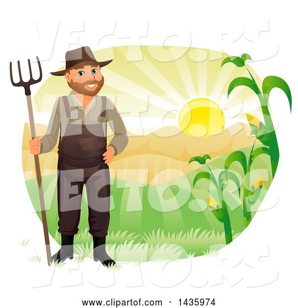 Vector of Happy Male Farmer in Overalls, Holding a Rake Against Hills and a Sunrise