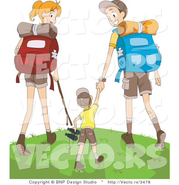 Vector of Happy Mom, Dad and Son Hiking Together