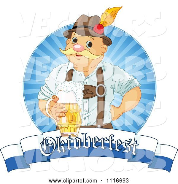 Vector of Happy Oktoberfest Guy Holding Beer over a Banner