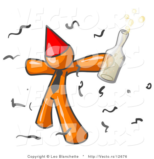 Vector of Happy Orange Guy Partying with a Party Hat, Confetti and a Bottle of Liquor