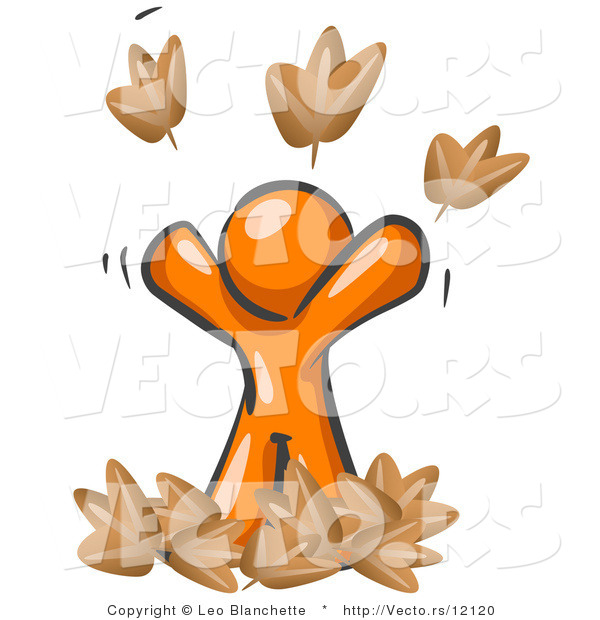 Vector of Happy Orange Guy Tossing up Autumn Leaves in the Air, Symbolizing Happiness, Freedom, and Being Carefree
