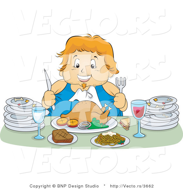 Vector of Happy Overweight Girl Feasting on a Turkey Meal, with Plates at Her Sides