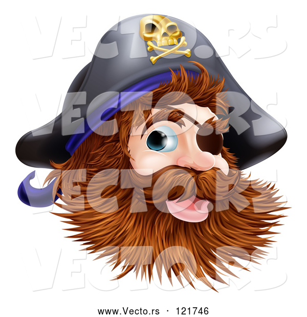 Vector of Happy Pirate Captain with an Eye Patch and Beard