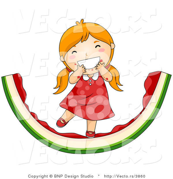 Vector of Happy Red Hair Girl Eating Giant Watermelon Slice