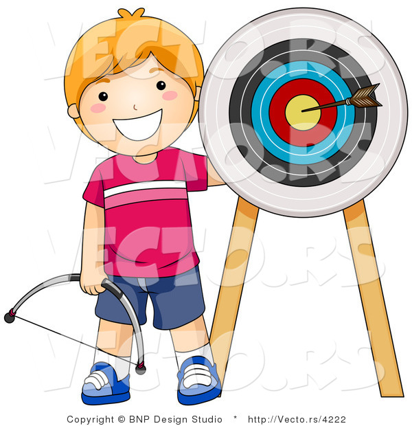 Vector of Happy Red Haired Boy Standing Beside Arrow in a Target