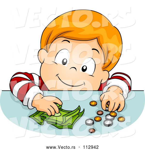 Vector of Happy Red Haired White Boy Putting Coins and Cash Money on a Table