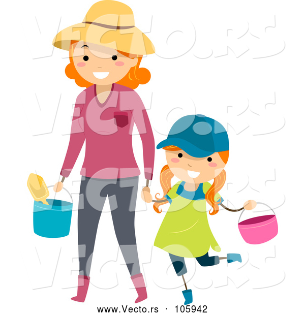 Vector of Happy Red Haired White Mother Holding Hands and Carrying Gardening Tools with Her Daughter