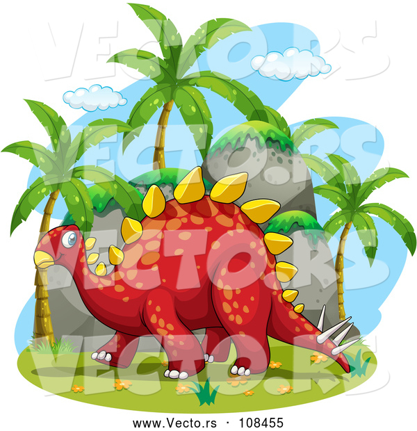 Vector of Happy Red Stegosaurus Dinosaur