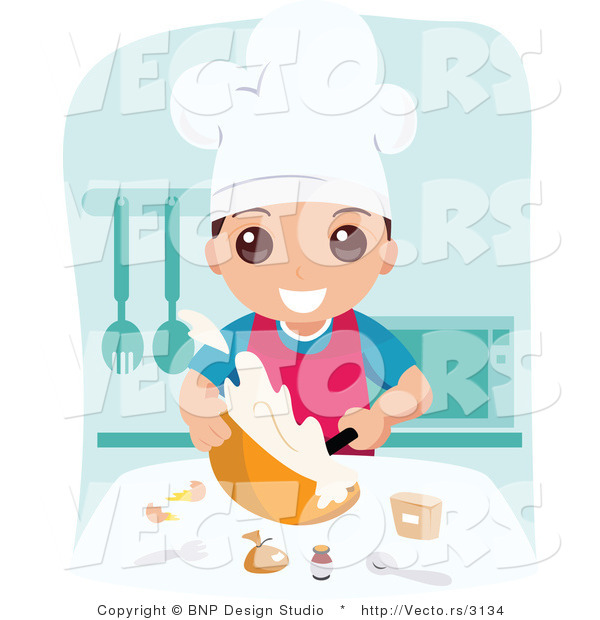 Vector of Happy School Boy Cooking Food in Home Economics Class
