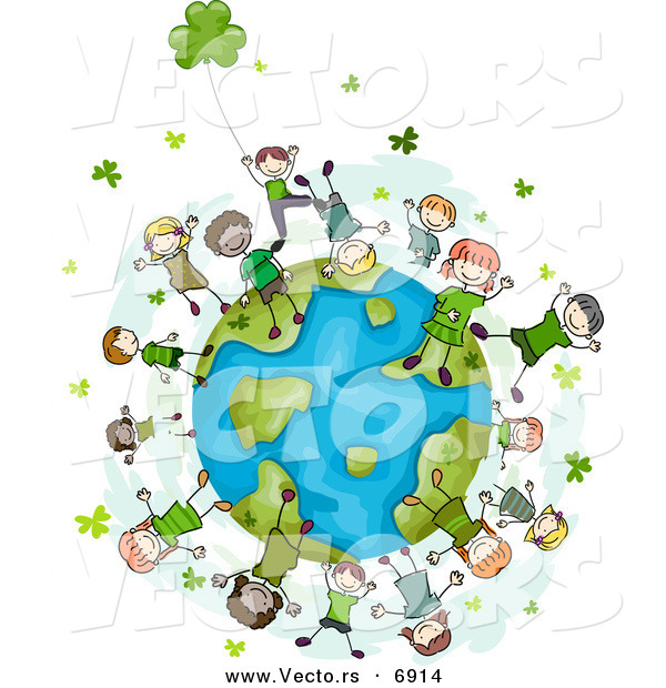 Vector of Happy St. Patrick's Day Kids with Clovers Around Earth