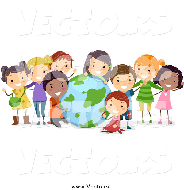 Vector of Happy Students with a Globe