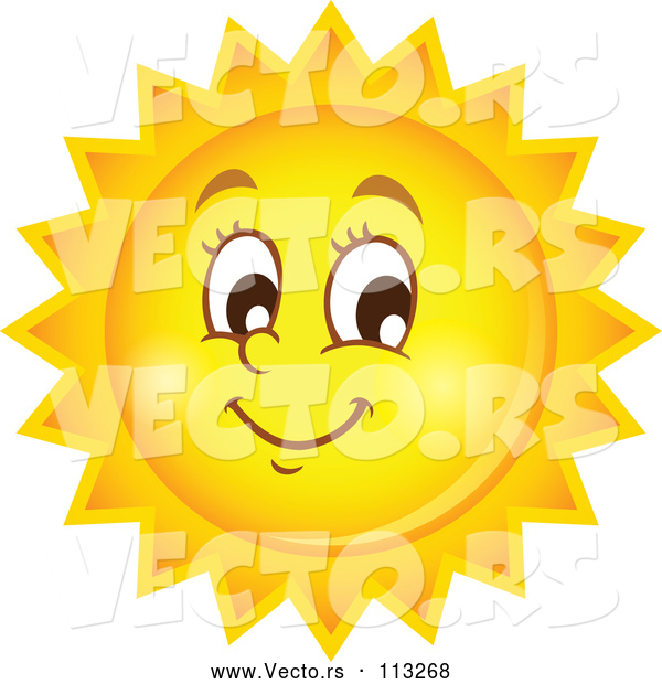 Vector of Happy Summer Sun Character