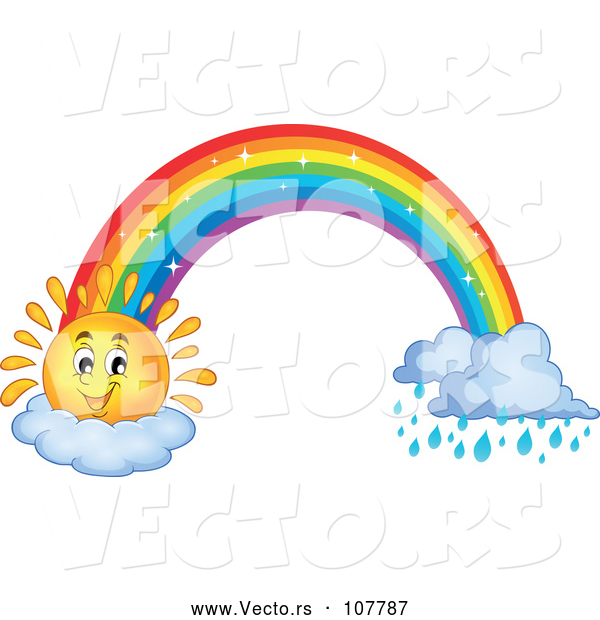 Vector of Happy Sun Cartoon and Rainbow with Rain